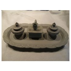 Rare Antique Ridgway & Son Drabware Desk Inkwell Set 4 Piece