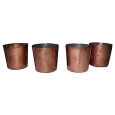 Antique Copper Darioles Mold Set of Four