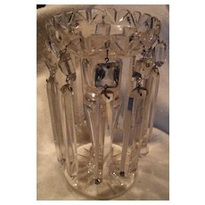 Heavy Vintage Crystal Candle Mantle Lustre with Prisms