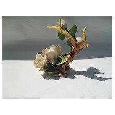Vintage Napoleon Capodimonte Porcelain Four White Roses