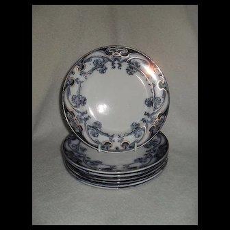 Art Nouveau Royal Staffordshire Burslem Iris Flow Blue Plate (7)