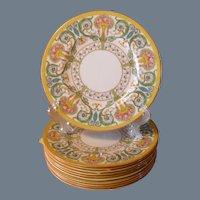Set of 6 Royal Worcester Cabinet Plates Z 698 Urns Multicolor Roses Flowers