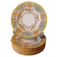 Set of 11 Royal Worcester Cabinet Plates Z 698 Urns Multicolor Roses Flowers