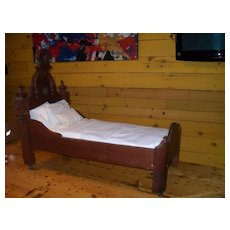 Antique Victorian Black Walnut High Back Dolls Bed