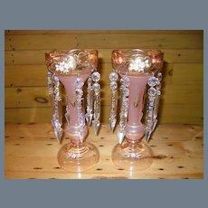Sleek Pair Vintage Bohemian Pink Glass Lustres Lusters