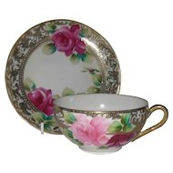 Vintage Royal Nippon Pink Roses Gold Teacup and Saucer