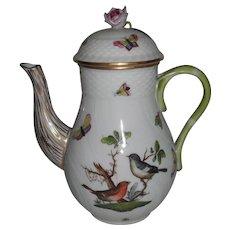 Classic Herend Rothschild Birds Chocolate Coffee Pot 1612/RO