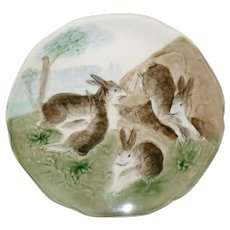 Antique Choisy du Roi Majolica 4 Rabbit Bunny Playing Plate