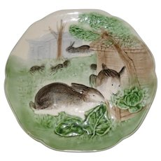 Antique Choisy du Roi Majolica 7 Rabbit Bunny Eating Plate