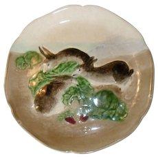 Early Choisy du Roi Majolica 3 Rabbit Bunny Eating Radish Plate