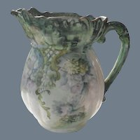 Outstanding Large Handpainted Purple Wisteria Pitcher