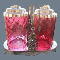 Antique Meriden Double Cranberry Diamond Quilted Victorian Pickle Castor