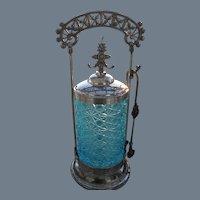 Victorian Quadruple Silver-plate Blue Daisy and Button Pickle Castor