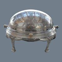 Antique Elkington Silverplate Revolving Server 1877