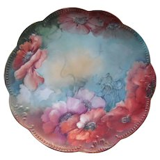 Antique Handpainted AK Limoges Poppy Plate Charger