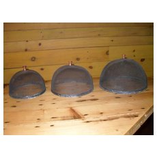 Antique Stacking Set Food Screen Cover Fly Dome Metal Mesh
