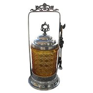 Antique Victorian Silver-plate EAPG Amber Cane Glass Pickle Castor