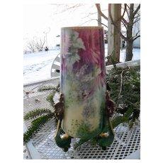 Huge Antique Wm Guerin Limoges Porcelain Vase Handpainted Flowers