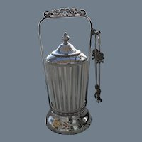 Victorian Silver-plate White Opalescent EAPG Pickle Castor