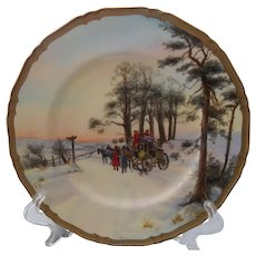 """Rare Royal Worcester Carriage Horses Signed 10 1/2"""" Plate"""