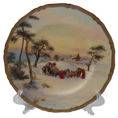 "Rare Royal Worcester Snowed Up Signed 10 1/2"" Plate"