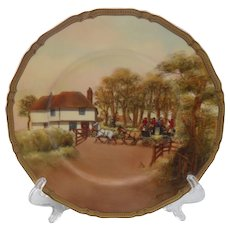 "Rare Royal Worcester The Toll Gate Signed 10 1/2"" Plate"