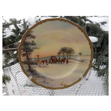 """Rare Royal Worcester Meeting the Mail Signed 10 1/2"""" Plate"""