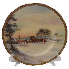 "Rare Royal Worcester Meeting the Mail Signed 10 1/2"" Plate"