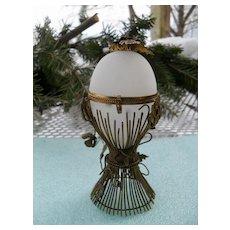 Antique French Opaline Palais Royal Egg Casket Box