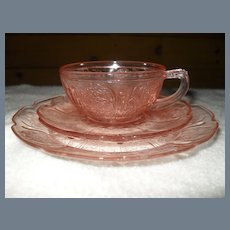 Jeannette Pink Depression Childs Cherry Blossom Cup/Saucer/Plate