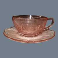 Jeannette Pink Depression Childs Cherry Blossom Cup and Saucer