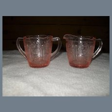Jeannette Pink Depression Childs Cherry Blossom Creamer and Sugar