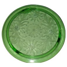 Jeannette Green Depression Glass Sunflower 3-Footed Cake Plate
