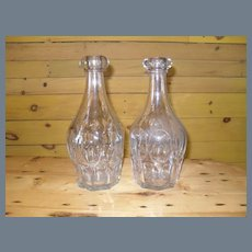 Pair Ashburton Clear Flint Glass Decanters