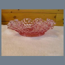 Rare Fenton Pink Colonial Thumbprint Ruffled Edge Bowl