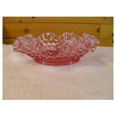 Rare Fenton Pink Colonial Thumbprint Ruffled Edge Bowl