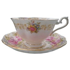 Royal Albert Serena Avon Shape Pink Roses Teacup and Saucer