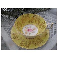 Paragon Yellow Gold Pink Rose Teacup and Saucer