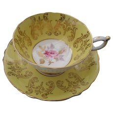 Paragon Yellow Gold Pink Rose Teacup and Saucer