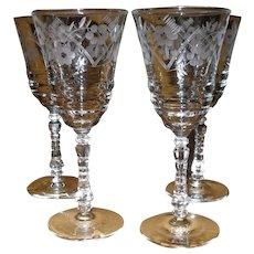 Four Libbey Rock Sharpe Water Wine Glass 3005-2