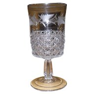 Early US Glass EAPG Mascotte Etched Fern Goblet