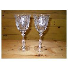 """Fostoria Navarre 6016 Etch 327 Water Wine Goblet 7 3/4"""" (2)"""