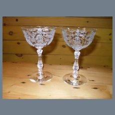 """Fostoria Navarre 6016 Etch 327 Champagne Goblet 5 5/8"""" (2)"""
