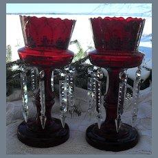 Antique Deep Cranberry Glass Mantel Lusters