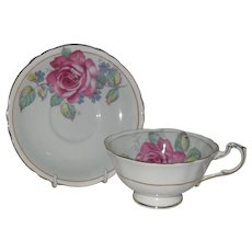 Paragon DW Pink Cabbage Rose on Blue Teacup and Saucer