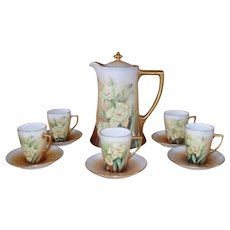 Antique HP Guerin Limoges Daffodil Chocolate Set