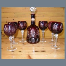 Bohemian Ruby Flash Decanter and 6 Glasses