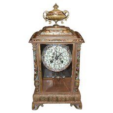 L Marti France Champleve Medaille D'Or Mantel Clock 1889