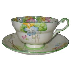 Paragon Summer Flowers Yellow Teacup and Saucer
