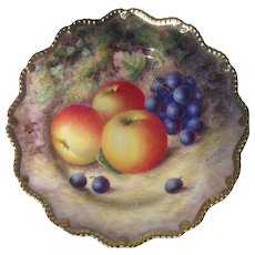 Royal Worcester Fruit Study Encrusted Gold Cabinet Plate